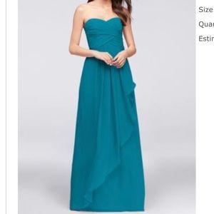 STRAPLESS CRINKLE CHIFFON DRESS , OBO